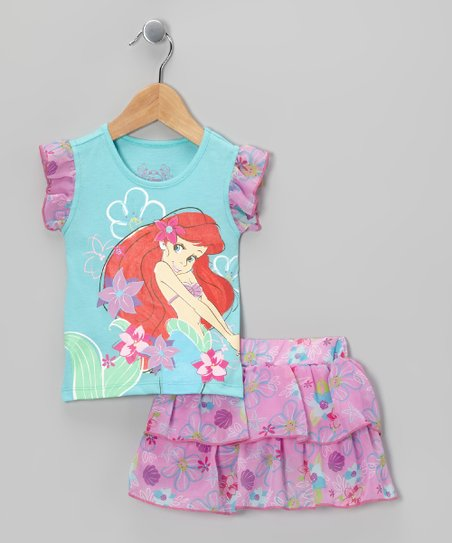 Aqua & Pink Ariel Top & Ruffle Skort - Toddler & Girls