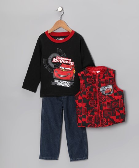 Red & Black 'McQueen' Vest Set - Infant