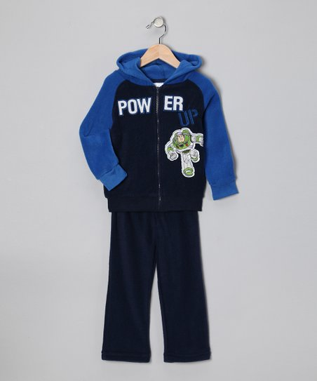 Black & Blue 'Power' Zip-Up Hoodie & Pants