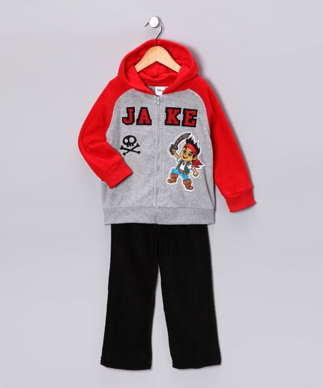 Gray & Red 'Jake' Zip-Up Hoodie & Pants