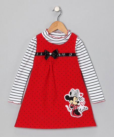 Red Minnie Polka Dot Top & Corduroy Jumper - Infant