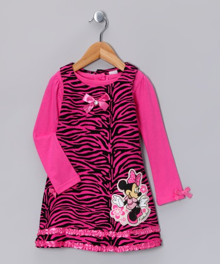 Bright Pink Zebra Minnie Corduroy Jumper & Top