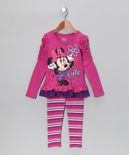 Purple Minnie 'How Cute' Tunic & Leggings - Infant