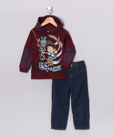 Magenta Never Land Pirates Layered Hoodie & Jeans - Toddler