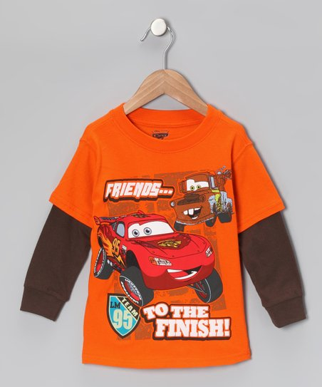 Orange & Brown 'Friends to the Finish' Layered Tee - Toddler
