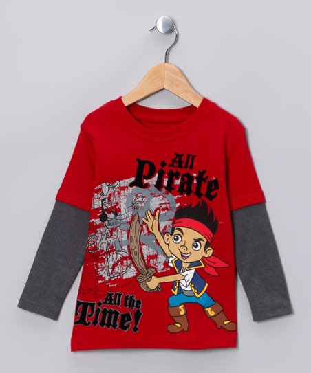 Red 'All Pirate' Layered Tee - Toddler