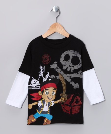 Black Skull Layered Tee - Toddler