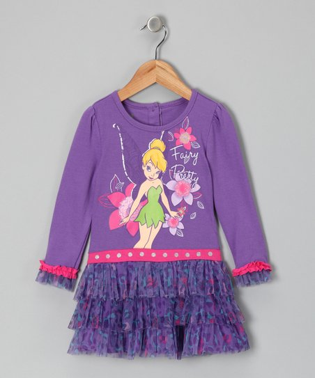 Purple Tinker Bell 'Fairy Pretty' Ruffle Dress - Toddler