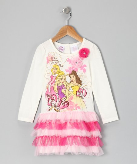 White & Pink Princess Ruffle Dress - Toddler
