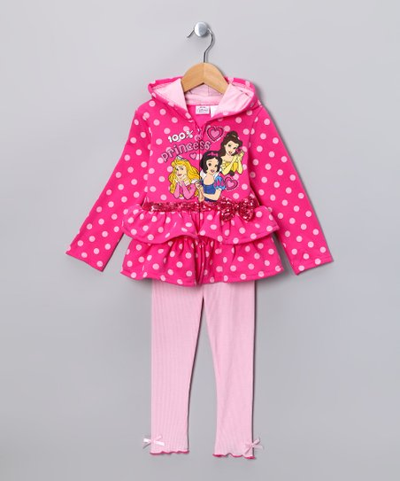 Dark Pink '100% Princess' Zip-Up Hoodie & Leggings - Toddler