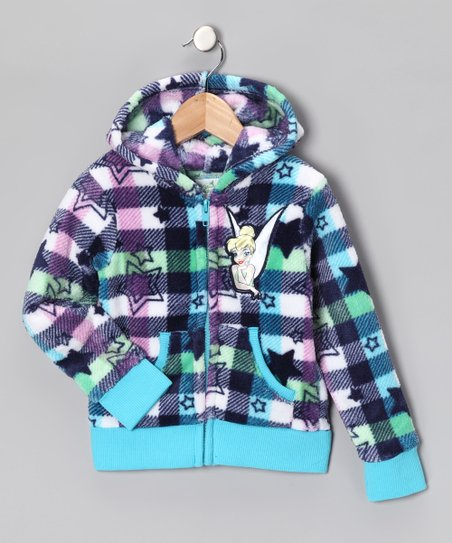Blue Checkerboard Tinker Bell Zip-Up Hoodie - Girls