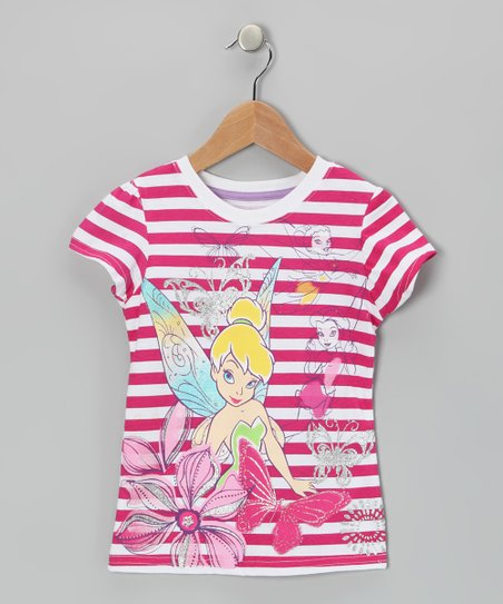 Red Stripe Tinker Bell Tee - Girls
