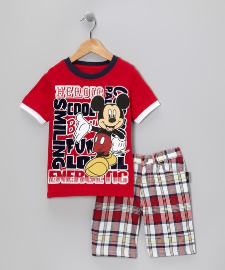 Disney Red Plaid 'Heroic' Mickey Tee & Shorts - Infant & Toddler