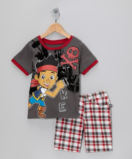 Gray & Red Plaid 'Jake' Tee & Shorts - Toddler