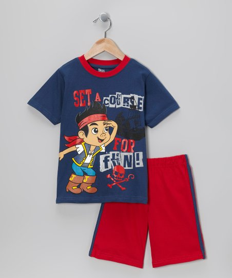 Navy Blue & Red 'Set a Course' Tee & Shorts - Toddler
