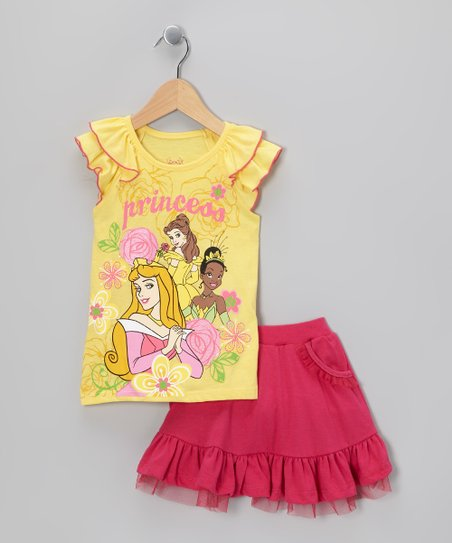Yellow 'Princess' Top & Skirt - Girls