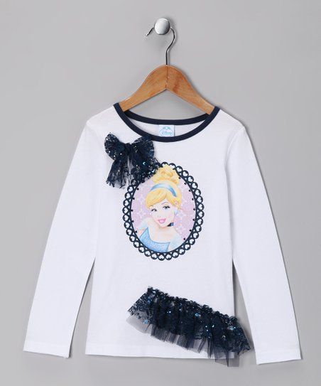 White Ruffle Sequin Cinderella Tee - Girls