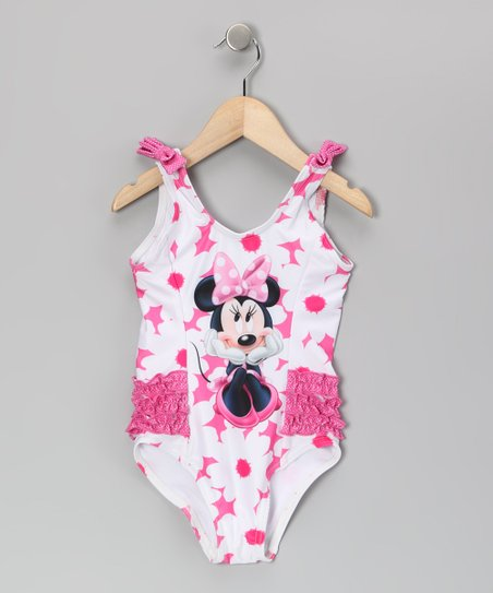 White &amp; Pink Bow Minnie Mouse One-Piece