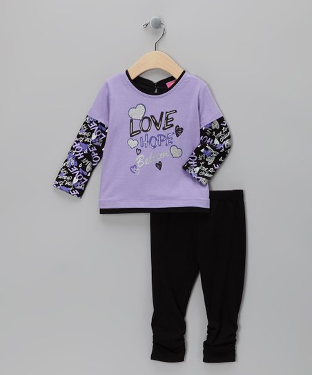 Purple 'Love Hope Believe' Tunic & Leggings - Infant