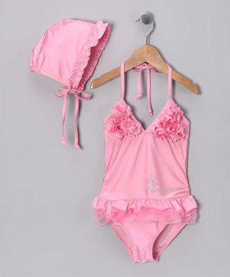 Pink One-Piece & Bonnet - Toddler & Girls