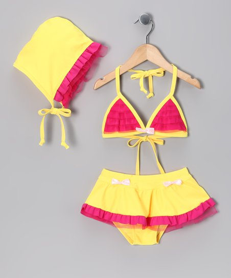Yellow & Hot Pink Skirted Bikini & Bonnet - Toddler & Girls