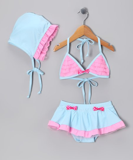 Pink & Blue Skirted Bikini & Bonnet - Toddler & Girls