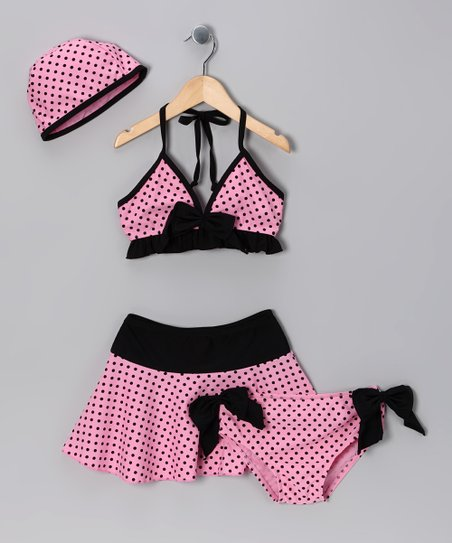 Pink & Black Polka Dot Bikini Set - Toddler & Girls