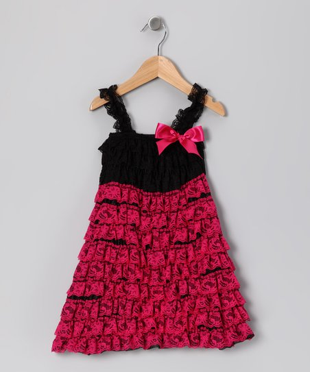Hot Pink & Black Lace Ruffle Dress - Infant, Toddler & Girls