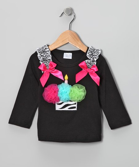 Black &amp; Pink Zebra Cupcake Tee - Toddler