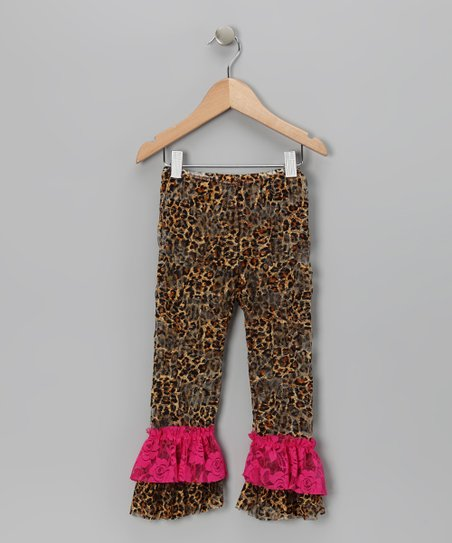 Cheetah & Pink Lace Leggings - Infant, Toddler & Girls
