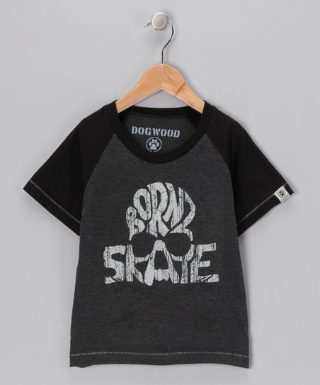 Black 'Born 2 Skate' Raglan Tee - Toddler & Boys