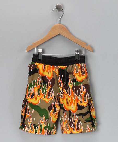 Black & Green Camo Fire Swim Trunks - Toddler