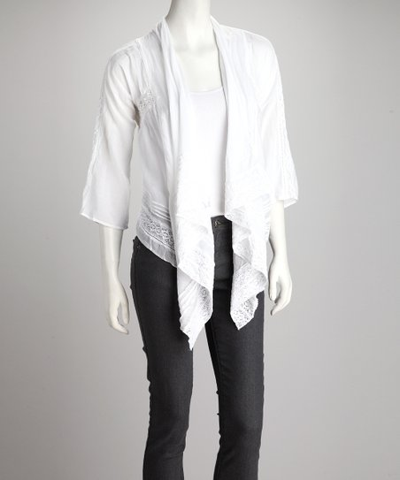White Embroidered Silk-Blend Open Cardigan