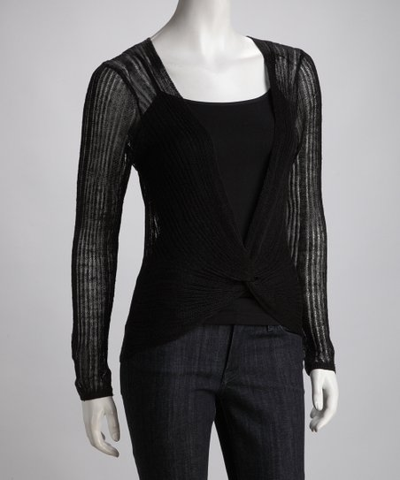 Black Sheer Linen-Blend Top
