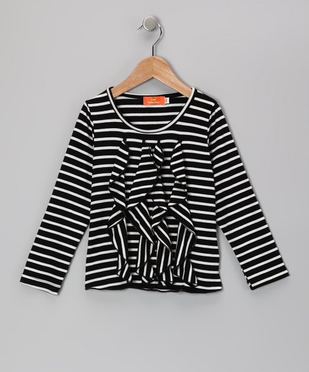 Black Stripe Ruffle Top - Girls