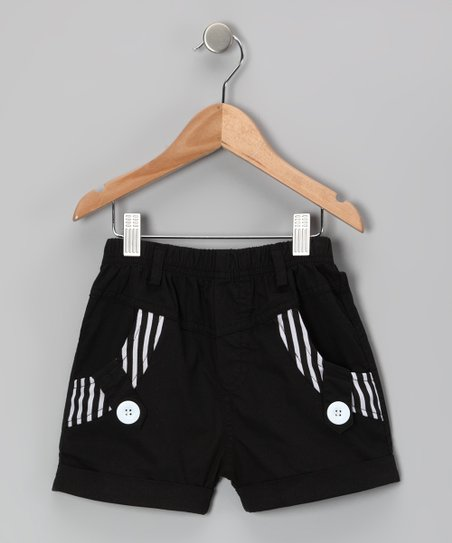 Black Stripe Shorts - Girls