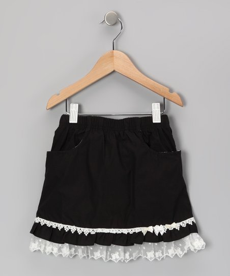 Black & White Ruffle Skirt - Girls
