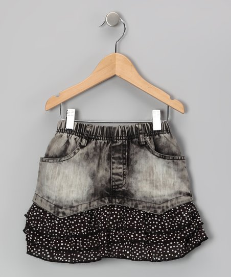 Faded Black Denim Ruffle Skirt - Girls