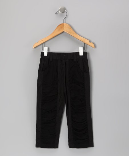 Black Panel Pants - Girls