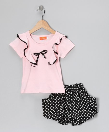 Pink Ribbon Top & Polka Dot Skirt - Girls