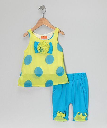 Yellow & Blue Polka Dot Bow Tank & Pants - Girls