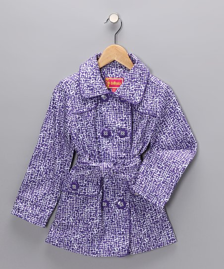 Purple Maze Trench Coat - Girls
