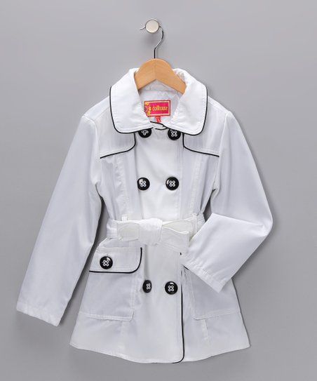 White Tie Trench Coat - Girls