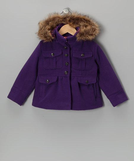 Purple Pocket Hooded Coat - Girls