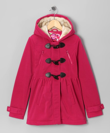 Fuchsia Fleece Toggle Coat - Toddler & Girls