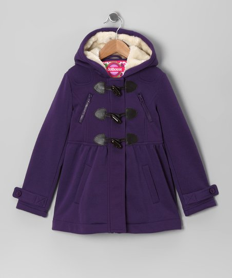 Purple Fleece Toggle Coat - Girls