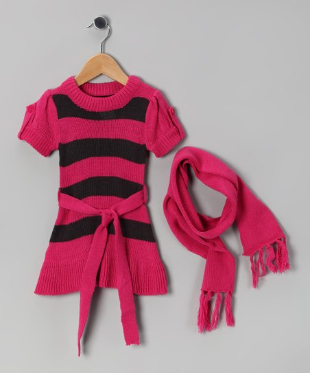 Pink & Black Stripe Sweater Dress & Scarf - Girls