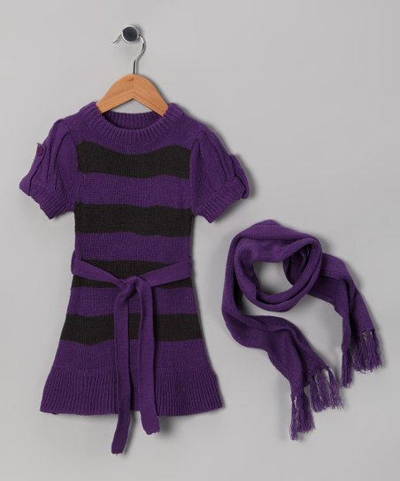 Purple & Black Stripe Sweater Dress & Scarf - Girls