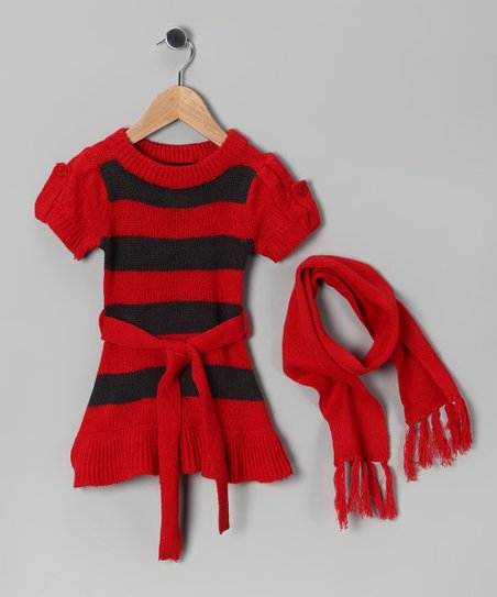 Red & Black Stripe Sweater Dress & Scarf - Girls