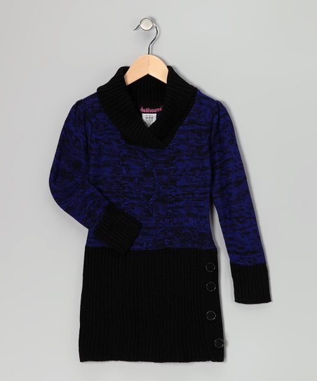 Blue Shawl Collar Sweater Dress - Girls